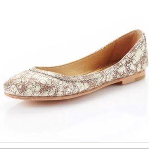 Frye Carson ballet flats crackle metallic size 8